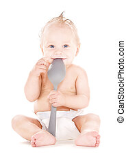 baby boy with big spoon - picture of baby boy with big spoon...