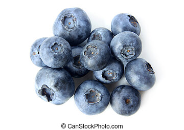 Ripe blueberries - Ripe bilberries on white background