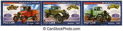 RUSSIA - 2007: dedicated the history of Russian motor-cars,...