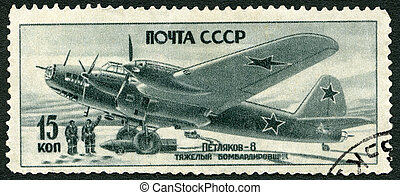 USSR - 1945: shows Petliakov-8 heavy bomber, series Victory...