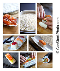 Asian cuisine - Chef cooking Asian dishes on a collage