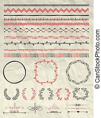 Vector Hand Drawn Seamless Borders on Crumpled Paper