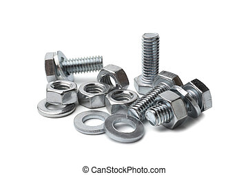 Steel bolts and nuts on white background