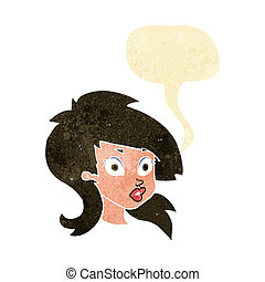 cartoon pretty surprised woman with speech bubble