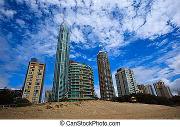 City of Surfers Paradise Beachfront - Skyscapers viewed from...