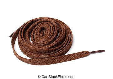 Shoelaces on white background