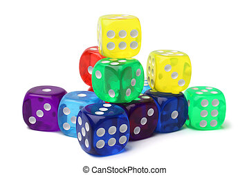 Many-colored dice set on white background