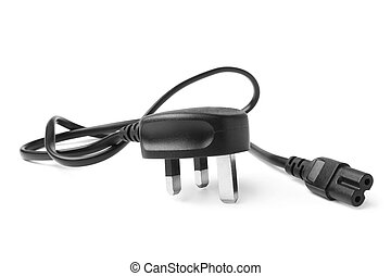 2 pin power cord on white background