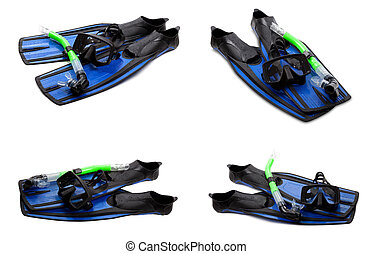 Set of blue swim fins, mask and snorkel for diving on white background