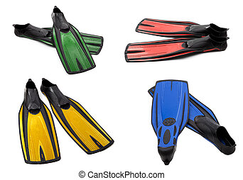 Set of multicolor swim fins for diving