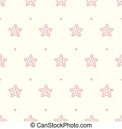 Vector pastel seamless pattern with sea starfish