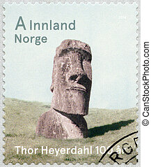 NORWAY - 2014: shows monumental statue Moai from Easter...