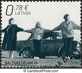 LATVIA - 2014: shows Baltic Chain, devoted The 25th...