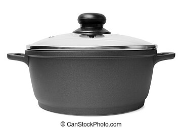 Stainless pan with glass lid on white background