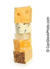 Vário, tipos, de, queijo,