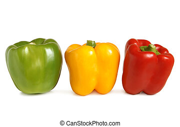Bulgarian peppers on white background