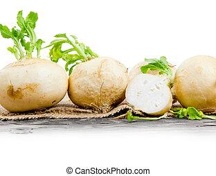 Radish - Photo of radish heads on burlap with white space
