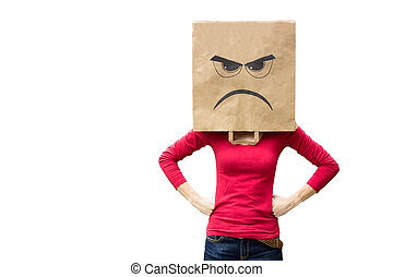 Angry woman with paper bag on head - Angry woman wearing...