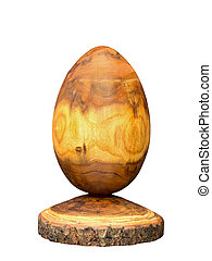 Wooden egg made of acacia tree with bark isolated on white...