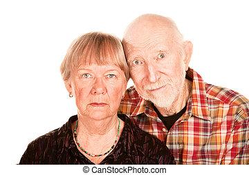 Concerned senior couple - Portrait of concerned senior...