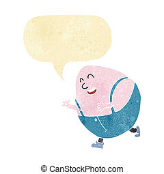 cartoon humpty dumpty egg character with speech bubble