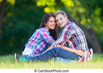 Young teen couple in the park