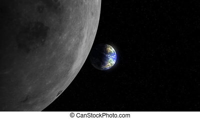 Planet Earth and Moon 01 24fps - From outer space against a...