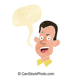 cartoon male face with speech bubble
