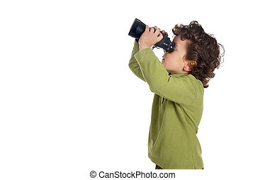 Adorable spy boy with binoculars isolated over white