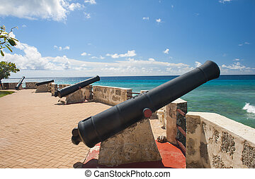 Needham's Point is a medieval fortification with cannons on...