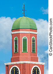Barbados clock tower detail - Famous red clock tower on the...