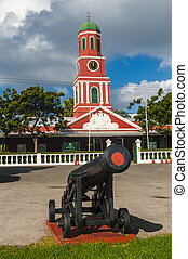 Barbados clock tower - Famous red clock tower on the main...