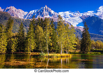 Early fall in Shamoni, Haute-Savoie France The snow-covered...