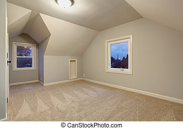 Large bedroom with carpet.