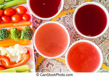 Vegetable tray with dip and lemonade. - Closeup of vegetable...