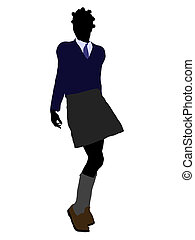 African American School Girl Silhouette - African american...