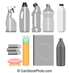set of household chemistry - A set of household chemicals,...