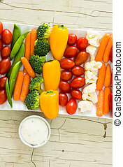 Vegetable tray with dip - Closeup of vegetable tray with...