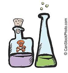 doodle bottles of poison, vector illustration