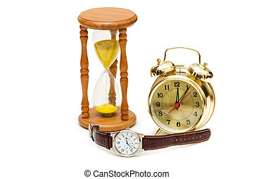 Time concept with watch, clock and hour glass