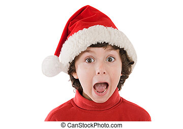 Surprised boy in christmas - Photo of an surprised boy in...