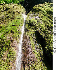 Close up of beautiful and fantastic waterfall in mountain