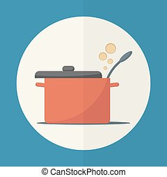 Cooking pan icon. - Cooking pan with lid open. Simple flat...