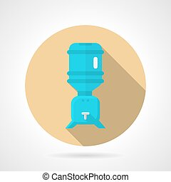 Water cooler flat round vector icon