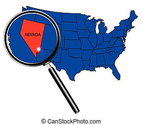Nevada state outline set into a map of The United States of...