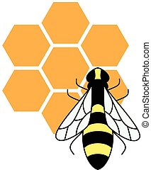 Stylized silhouette of a bee on light background -...