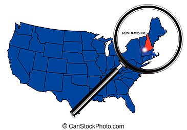 New Hampshire state outline set into a map of The United...