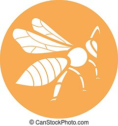 Stylized silhouette of a bee on orange background