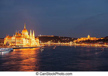 Budapest Cityscape at night With the all main landmarks of...