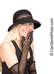 Young woman - Laughing young woman wearing black hat and...